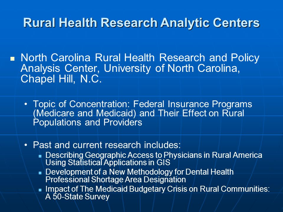 North Carolina Rural Health Research and Policy Analysis Center, University of North Carolina, Chapel Hill, N.C.