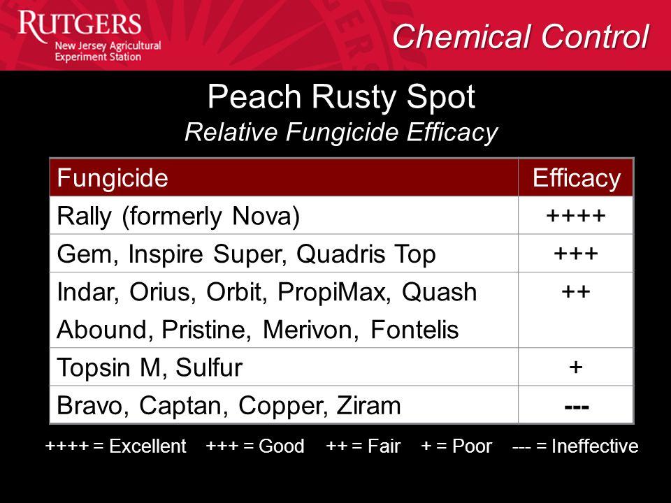 Peach Rusty Spot Relative Fungicide Efficacy FungicideEfficacy Rally (formerly Nova)++++ Gem, Inspire Super, Quadris Top+++ Indar, Orius, Orbit, Propi