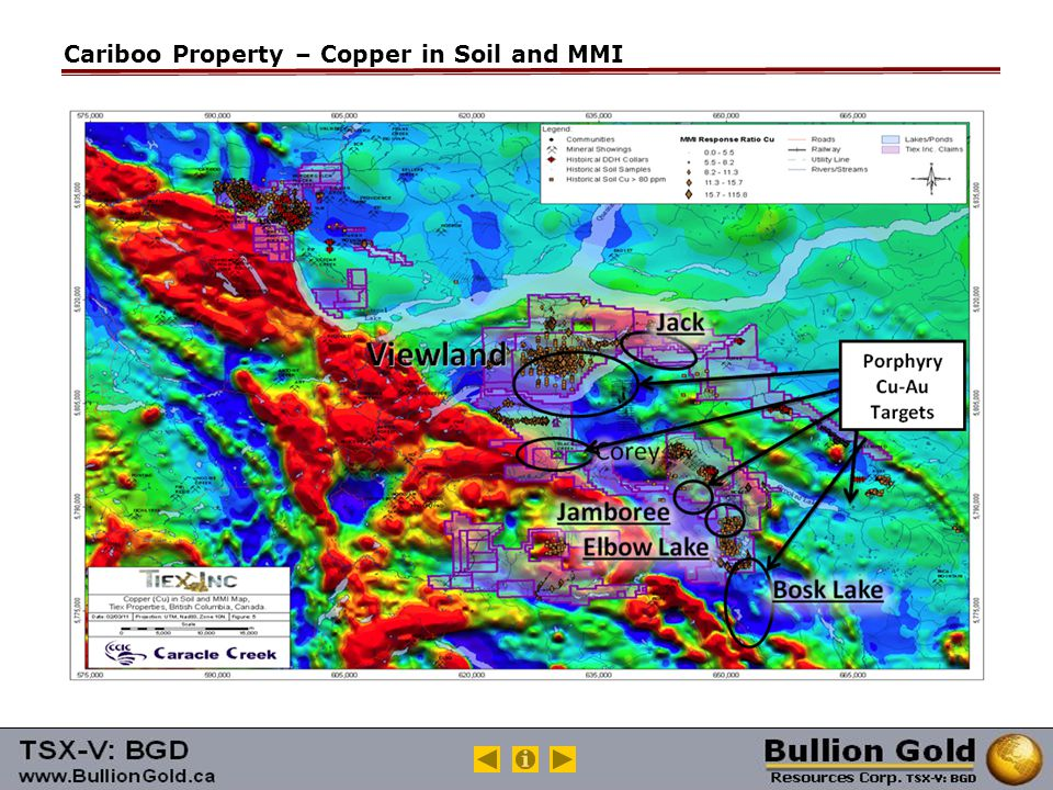 Cariboo Property – Copper in Soil and MMI
