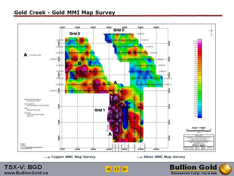 Gold Creek - Gold MMI Map Survey Copper MMI Map SurveySilver MMI Map Survey