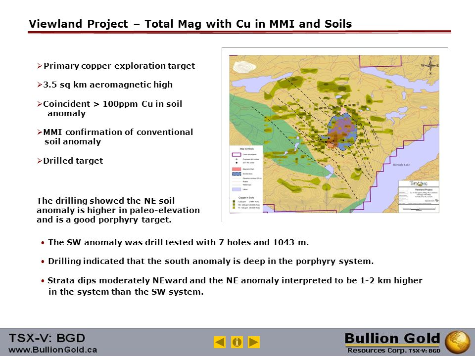 Viewland Project – Total Mag with Cu in MMI and Soils  Primary copper exploration target  3.5 sq km aeromagnetic high  Coincident > 100ppm Cu in soil anomaly  MMI confirmation of conventional soil anomaly  Drilled target The drilling showed the NE soil anomaly is higher in paleo-elevation and is a good porphyry target.