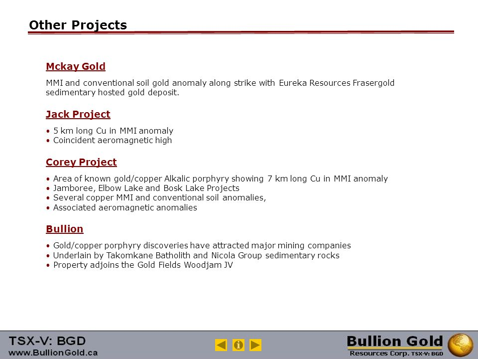 Other Projects Mckay Gold MMI and conventional soil gold anomaly along strike with Eureka Resources Frasergold sedimentary hosted gold deposit.