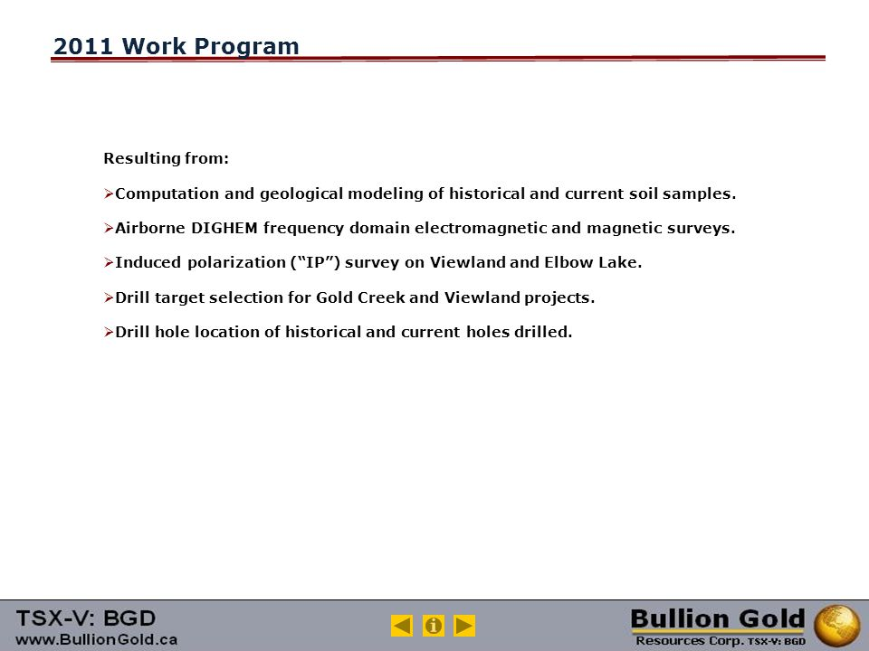 2011 Work Program Resulting from:  Computation and geological modeling of historical and current soil samples.