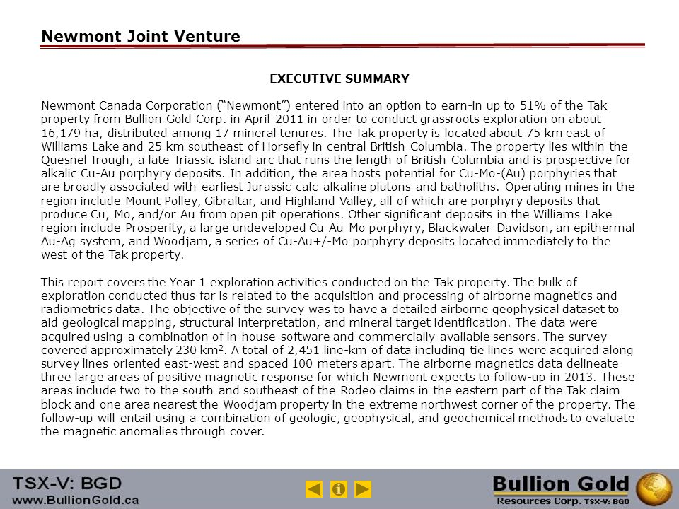 Newmont Joint Venture EXECUTIVE SUMMARY Newmont Canada Corporation ( Newmont ) entered into an option to earn-in up to 51% of the Tak property from Bullion Gold Corp.