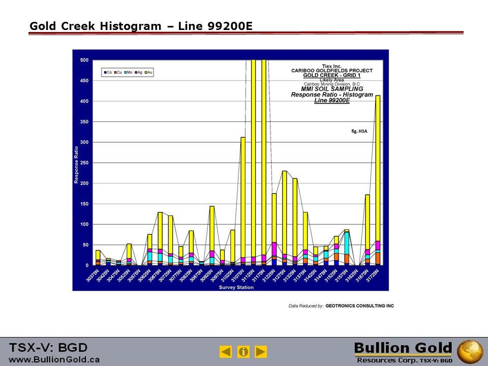Gold Creek Histogram – Line 99200E