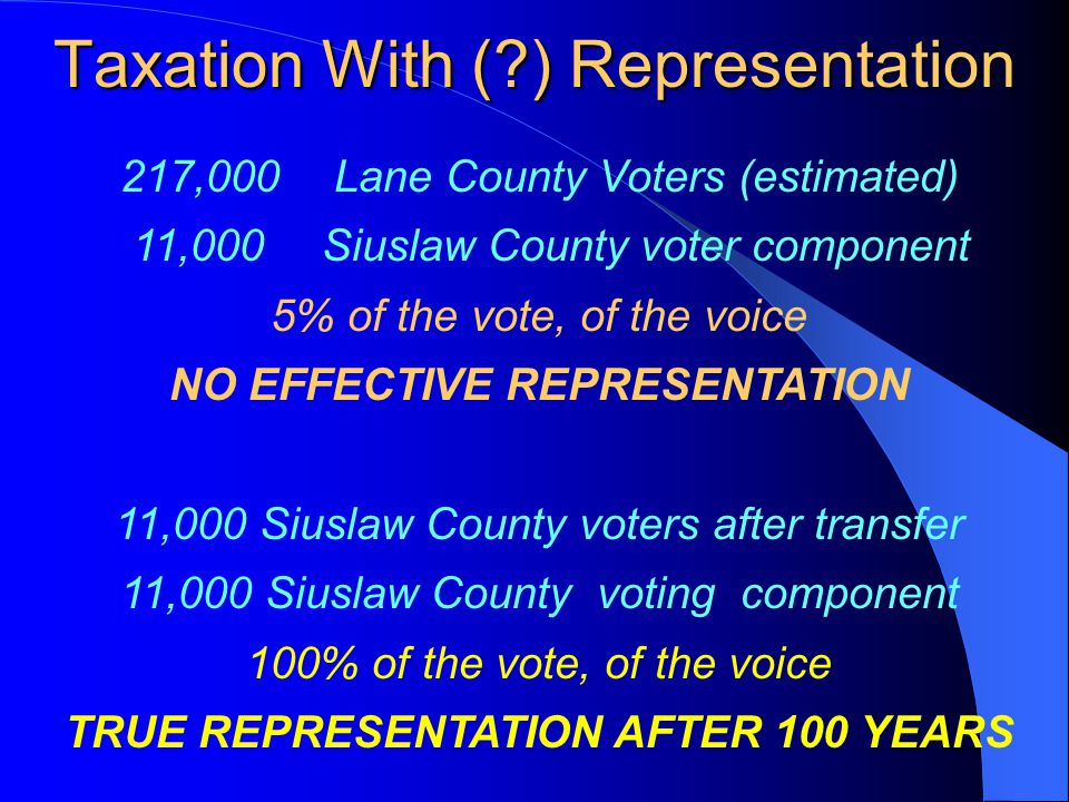 Taxation With (?) Representation 217,000Lane County Voters (estimated) 11,000Siuslaw County voter component 5% of the vote, of the voice NO EFFECTIVE