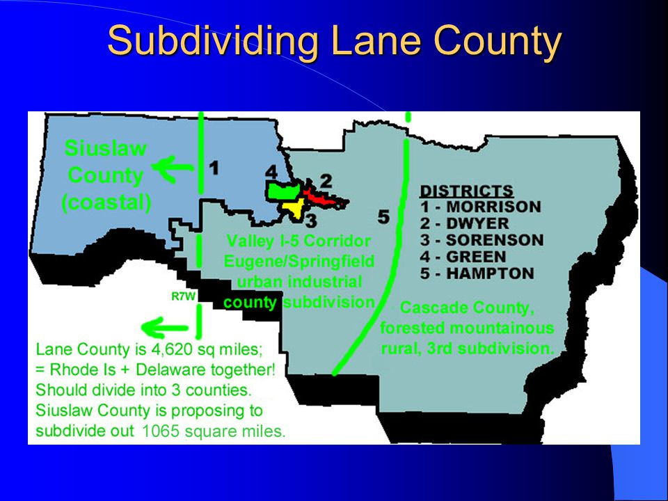 Siuslaw County Facilities Siuslaw County residents have paid through taxes to build various facilities throughout Lane County of which the transfer will include either take-over, lease, anor compensation for.