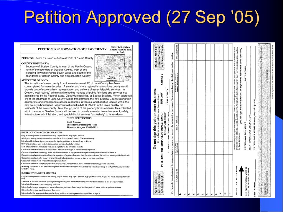Petition Approved (27 Sep '05)