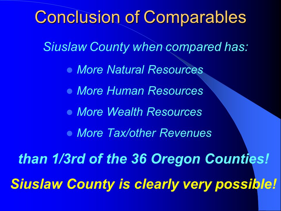 Conclusion of Comparables More Natural Resources More Human Resources More Wealth Resources More Tax/other Revenues Siuslaw County when compared has: