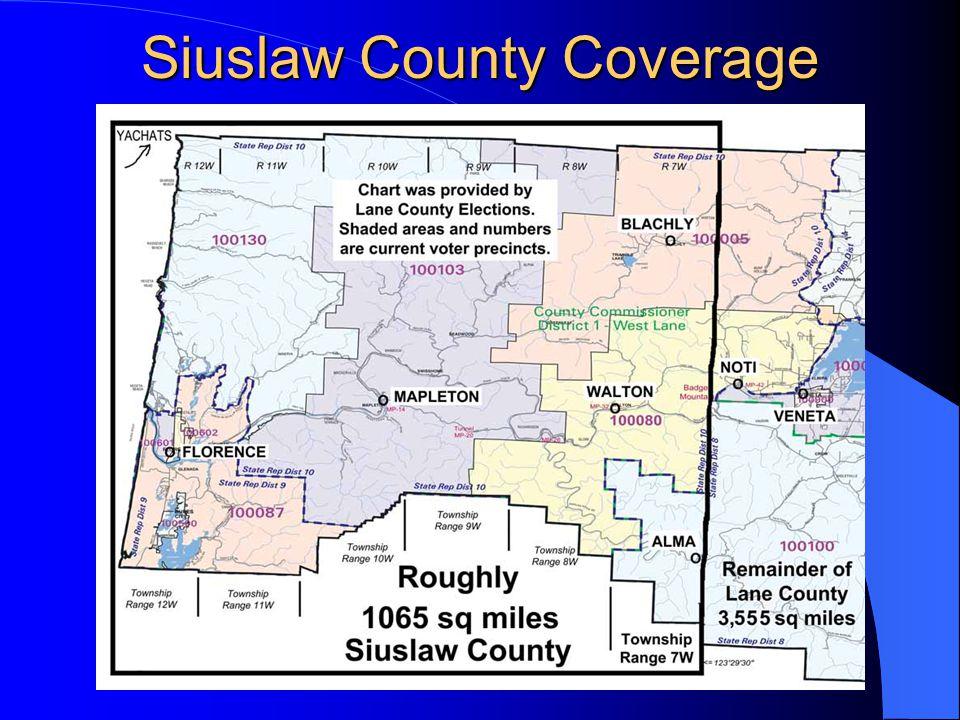Siuslaw Revenues (Real$) Lane County Define Transfer Siuslaw gets 34,326,806 Property Tax 9.8% 3,364,027 26,690,506 Federal Fund 6.0.