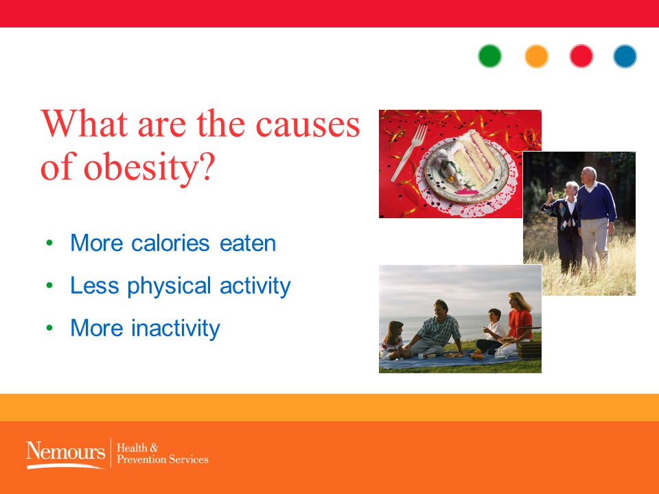 More calories eaten Less physical activity More inactivity What are the causes of obesity?