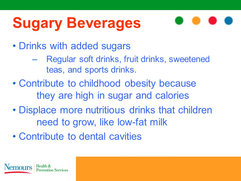 Drinks with added sugars –Regular soft drinks, fruit drinks, sweetened teas, and sports drinks.