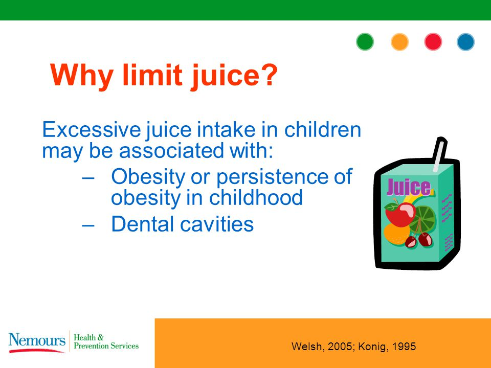 Excessive juice intake in children may be associated with: –Obesity or persistence of obesity in childhood –Dental cavities Why limit juice.