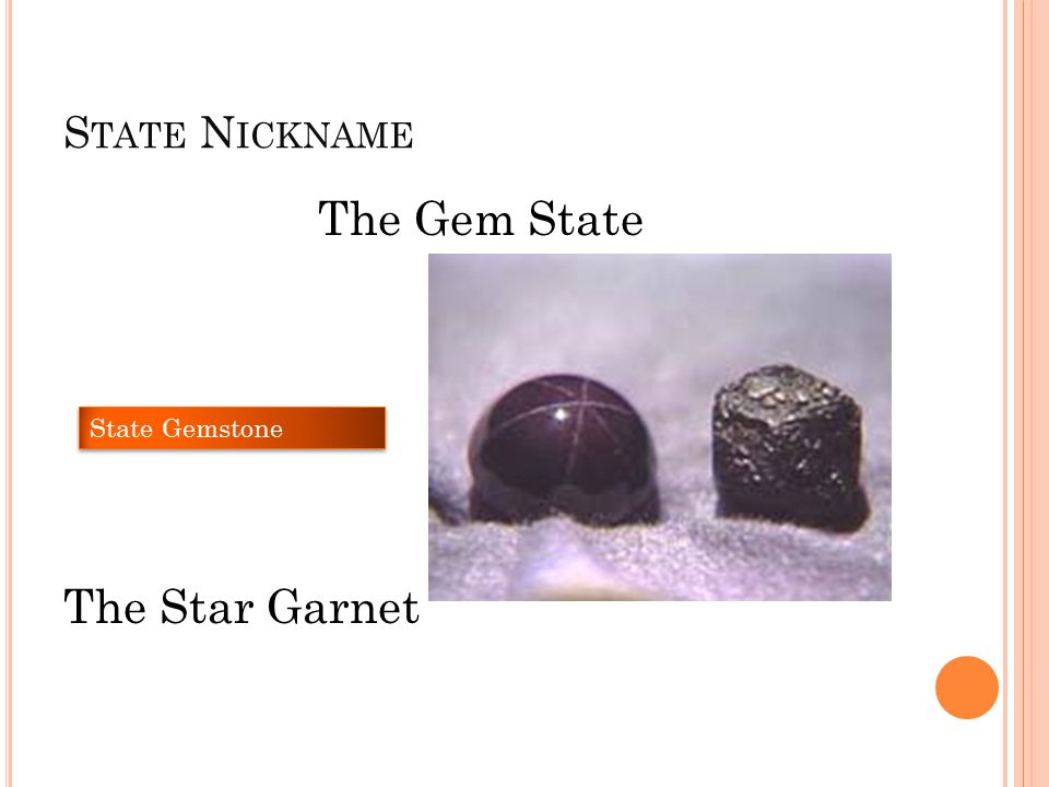 S TATE N ICKNAME The Gem State The Star Garnet State Gemstone