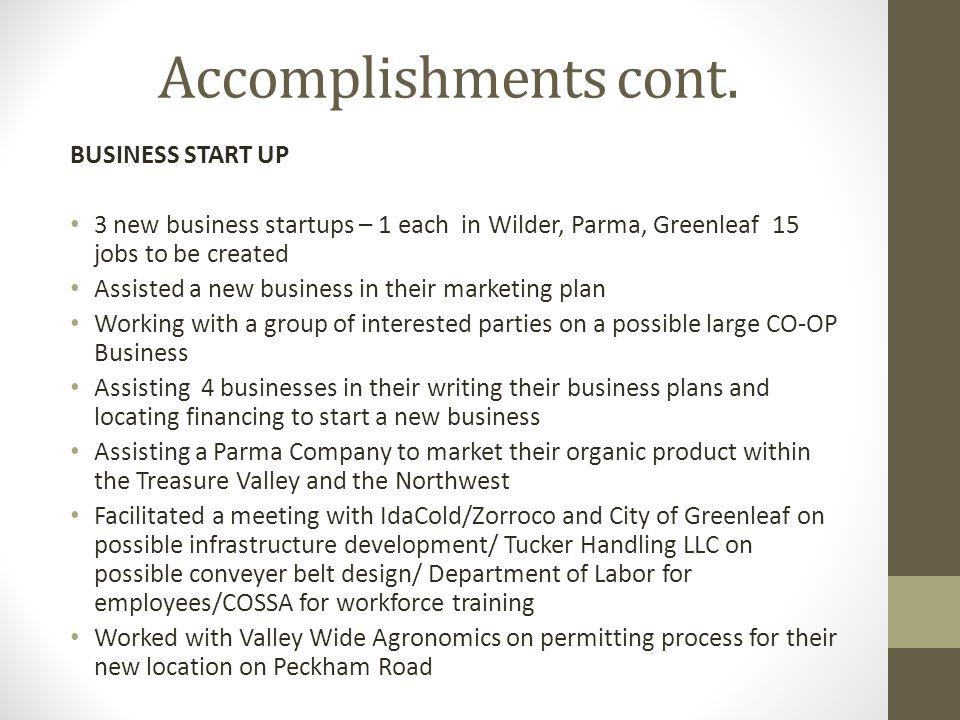 Accomplishments cont.