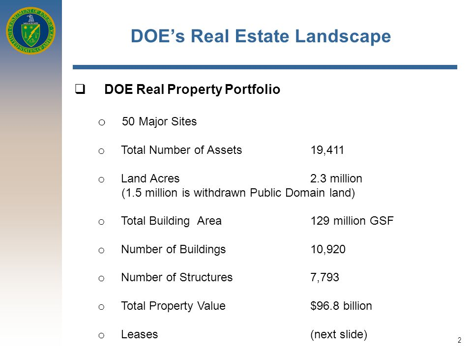 2 DOE's Real Estate Landscape  DOE Real Property Portfolio o 50 Major Sites o Total Number of Assets 19,411 o Land Acres 2.3 million (1.5 million is withdrawn Public Domain land) o Total Building Area 129 million GSF o Number of Buildings 10,920 o Number of Structures 7,793 o Total Property Value $96.8 billion o Leases(next slide)