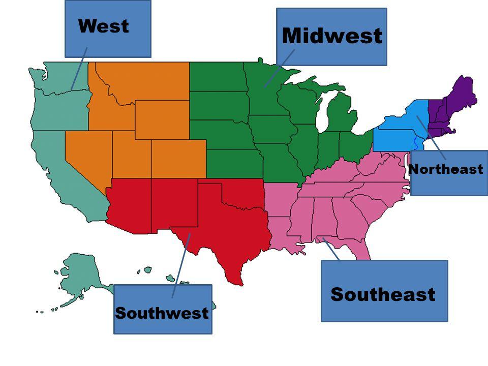 West Midwest Northeast Southeast Southwest