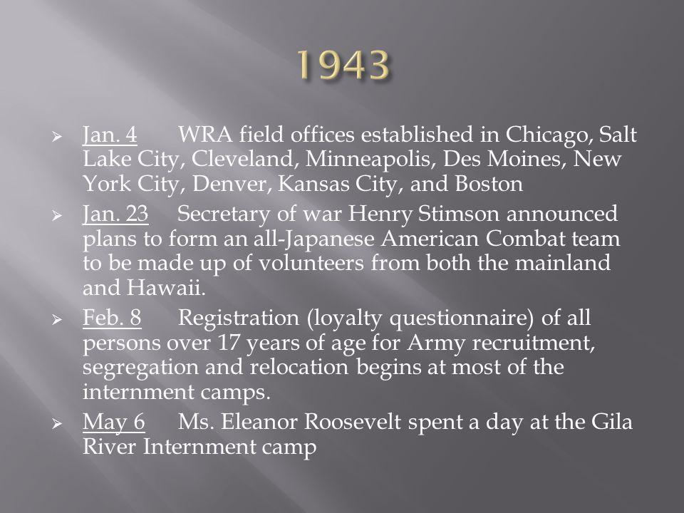  Jan. 4WRA field offices established in Chicago, Salt Lake City, Cleveland, Minneapolis, Des Moines, New York City, Denver, Kansas City, and Boston 