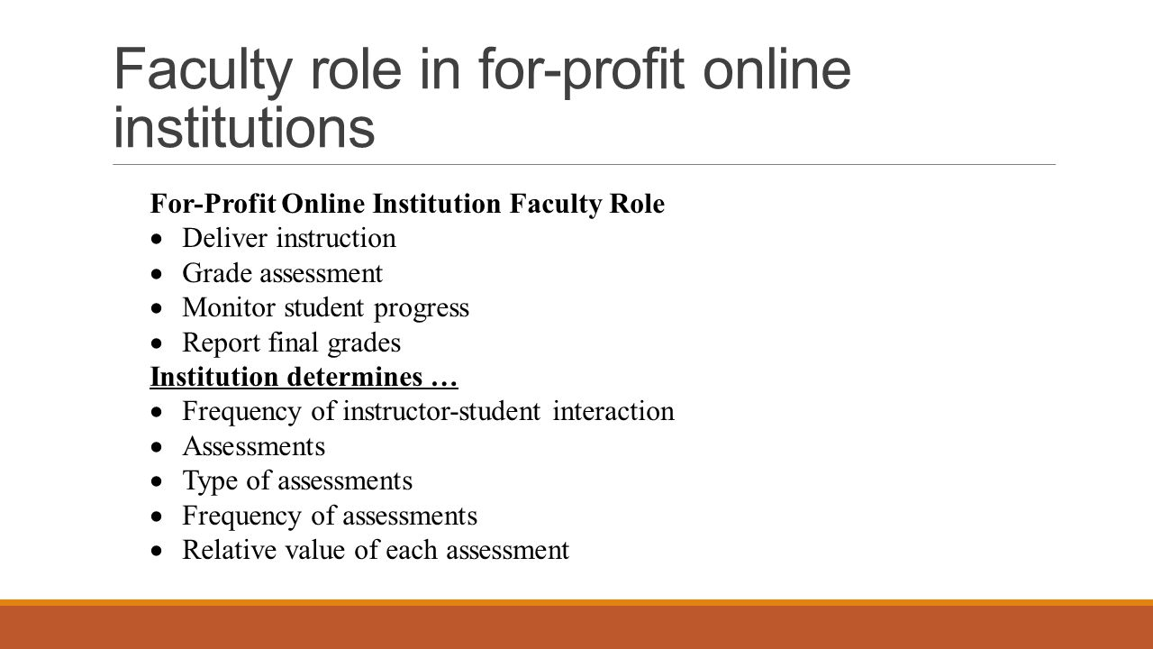 Faculty role in for-profit online institutions For-Profit Online Institution Faculty Role  Deliver instruction  Grade assessment  Monitor student progress  Report final grades Institution determines …  Frequency of instructor-student interaction  Assessments  Type of assessments  Frequency of assessments  Relative value of each assessment