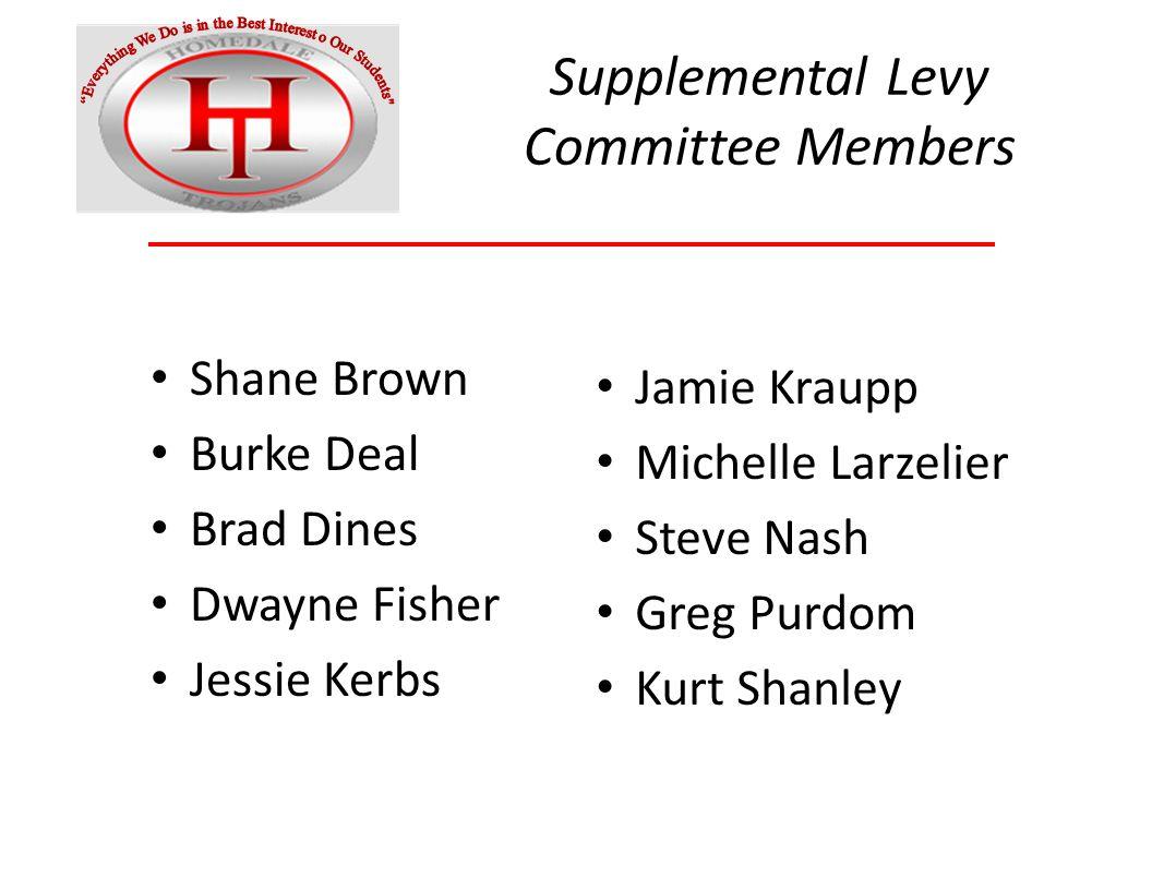 Supplemental Levy Committee Members Shane Brown Burke Deal Brad Dines Dwayne Fisher Jessie Kerbs Jamie Kraupp Michelle Larzelier Steve Nash Greg Purdom Kurt Shanley