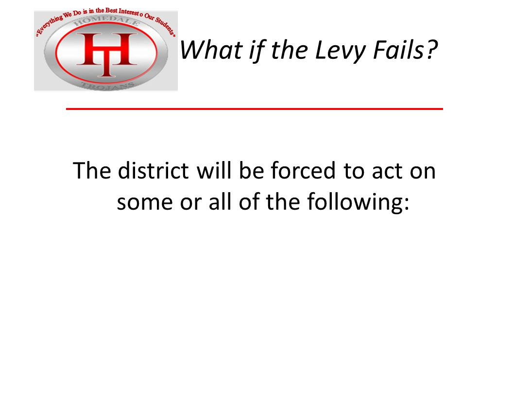 What if the Levy Fails The district will be forced to act on some or all of the following: