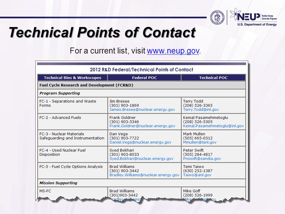 Technical Points of Contact For a current list, visit www.neup.gov.www.neup.gov