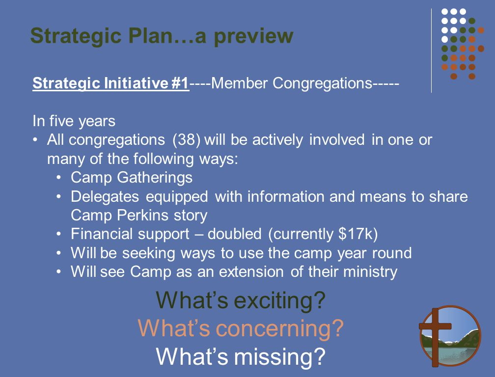 Strategic Plan…a preview Strategic Initiative #1----Member Congregations----- In five years All congregations (38) will be actively involved in one or many of the following ways: Camp Gatherings Delegates equipped with information and means to share Camp Perkins story Financial support – doubled (currently $17k) Will be seeking ways to use the camp year round Will see Camp as an extension of their ministry What's exciting.