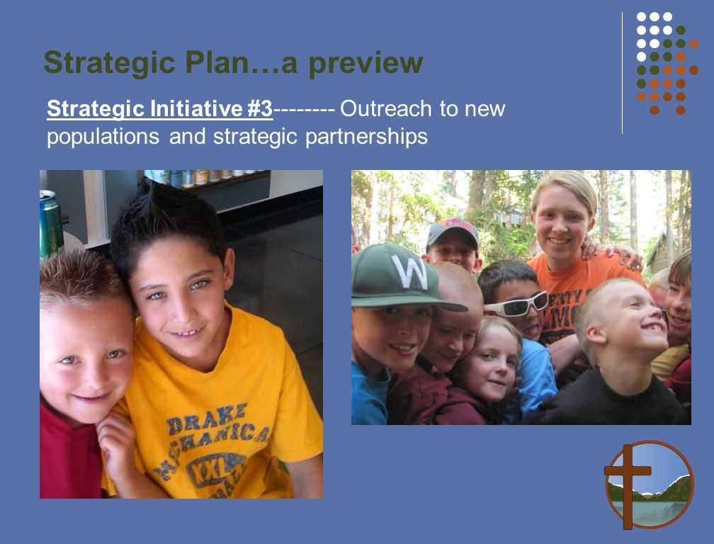 Strategic Plan…a preview Strategic Initiative #3-------- Outreach to new populations and strategic partnerships