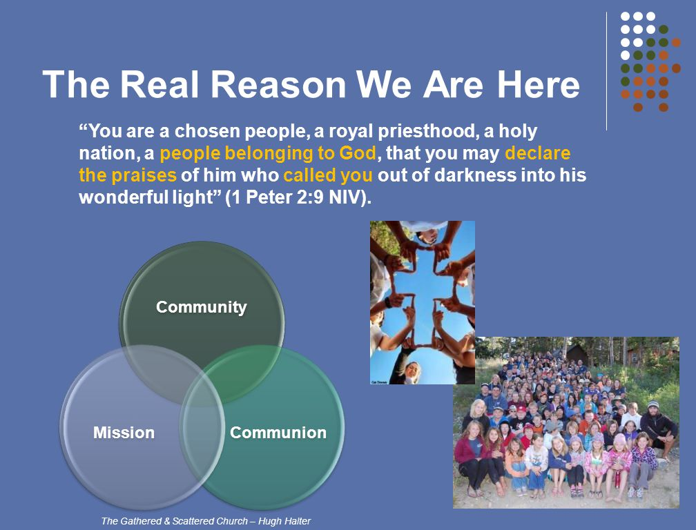 The Real Reason We Are Here You are a chosen people, a royal priesthood, a holy nation, a people belonging to God, that you may declare the praises of him who called you out of darkness into his wonderful light (1 Peter 2:9 NIV).