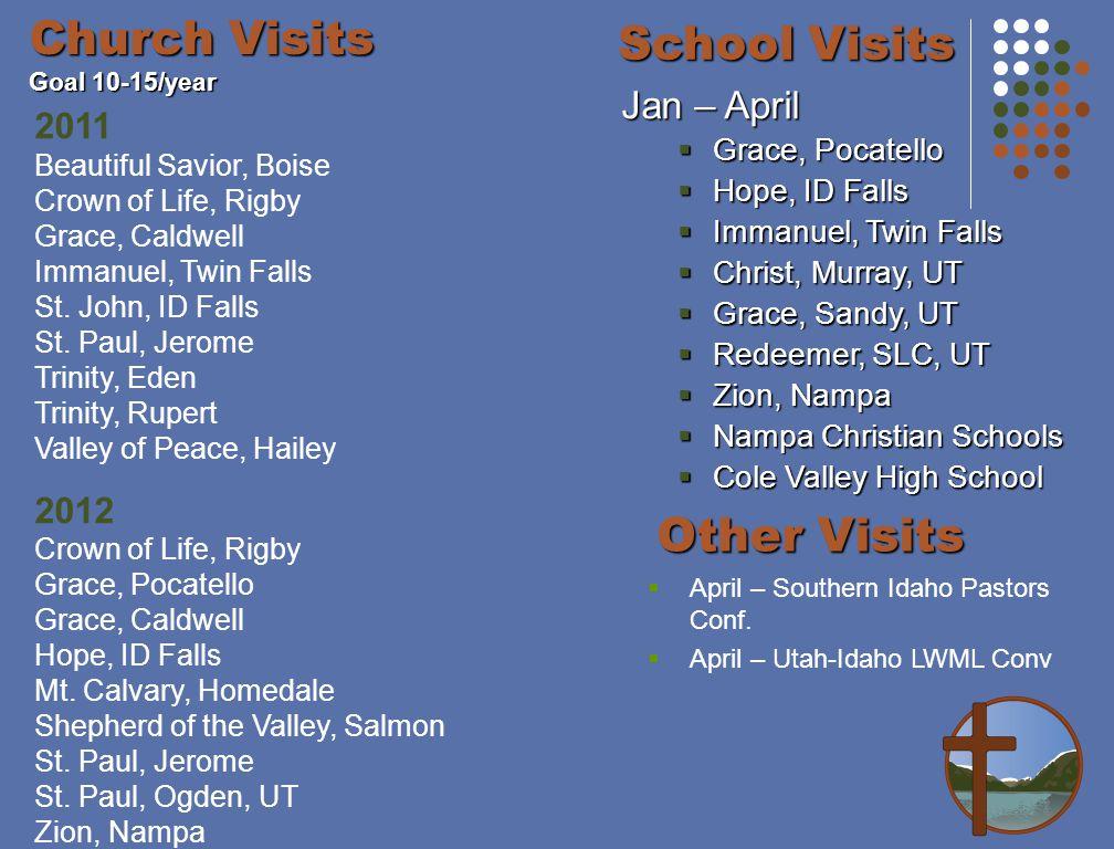 Church Visits Goal 10-15/year 2011 Beautiful Savior, Boise Crown of Life, Rigby Grace, Caldwell Immanuel, Twin Falls St.