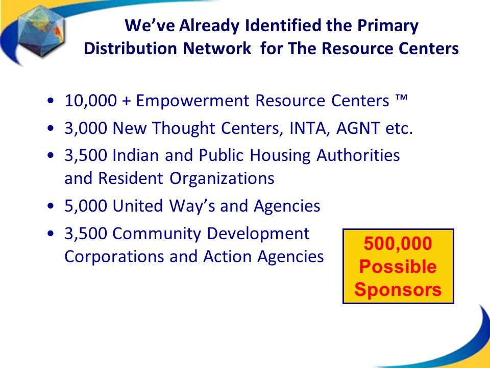 We've Already Identified the Primary Distribution Network for The Resource Centers 10,000 + Empowerment Resource Centers ™ 3,000 New Thought Centers,