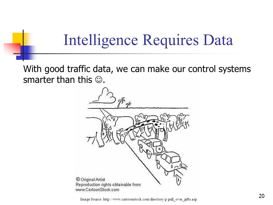 20 Intelligence Requires Data With good traffic data, we can make our control systems smarter than this. Image Source: http://www.cartoonstock.com/dir