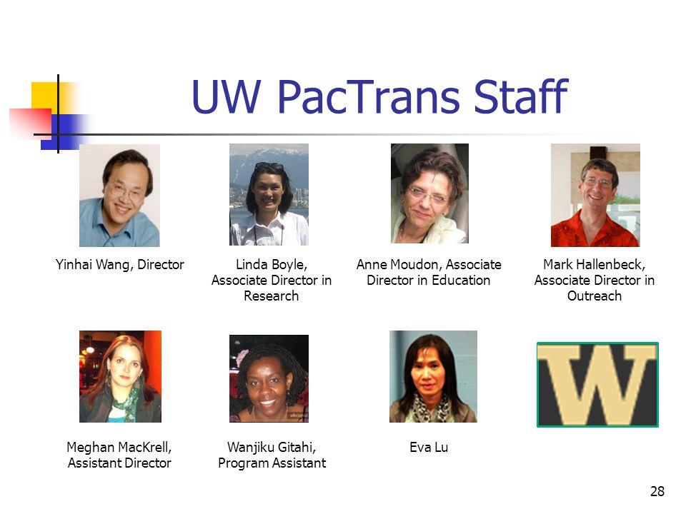 UW PacTrans Staff Yinhai Wang, DirectorLinda Boyle, Associate Director in Research Anne Moudon, Associate Director in Education Mark Hallenbeck, Assoc