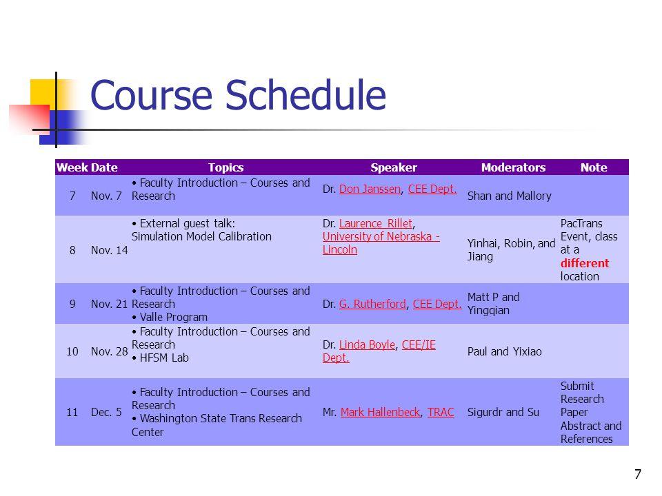 7 Course Schedule WeekDateTopicsSpeakerModeratorsNote 7Nov. 7 Faculty Introduction – Courses and Research Dr. Don Janssen, CEE Dept.Don JanssenCEE Dep