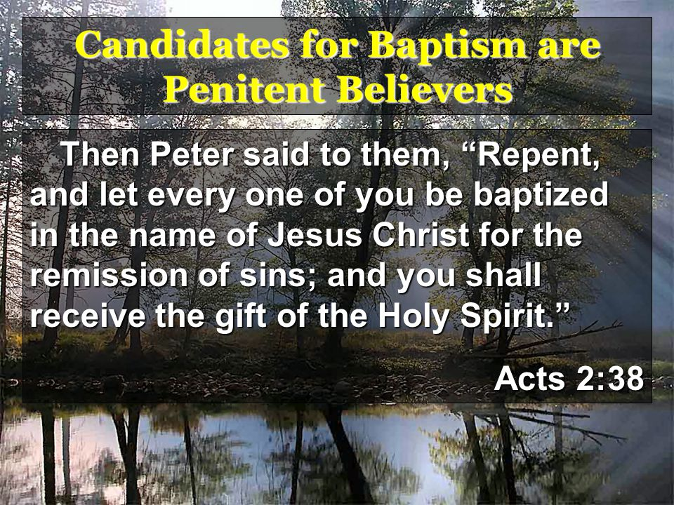 Candidates for Baptism are Penitent Believers Then Peter said to them, Repent, and let every one of you be baptized in the name of Jesus Christ for the remission of sins; and you shall receive the gift of the Holy Spirit. Acts 2:38