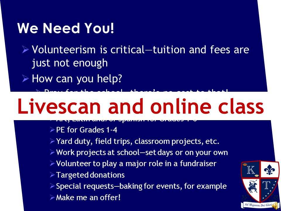 We Need You.  Volunteerism is critical—tuition and fees are just not enough  How can you help.