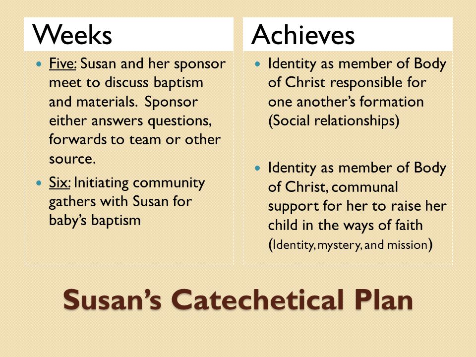 Susan's Catechetical Plan WeeksAchieves Five: Susan and her sponsor meet to discuss baptism and materials. Sponsor either answers questions, forwards