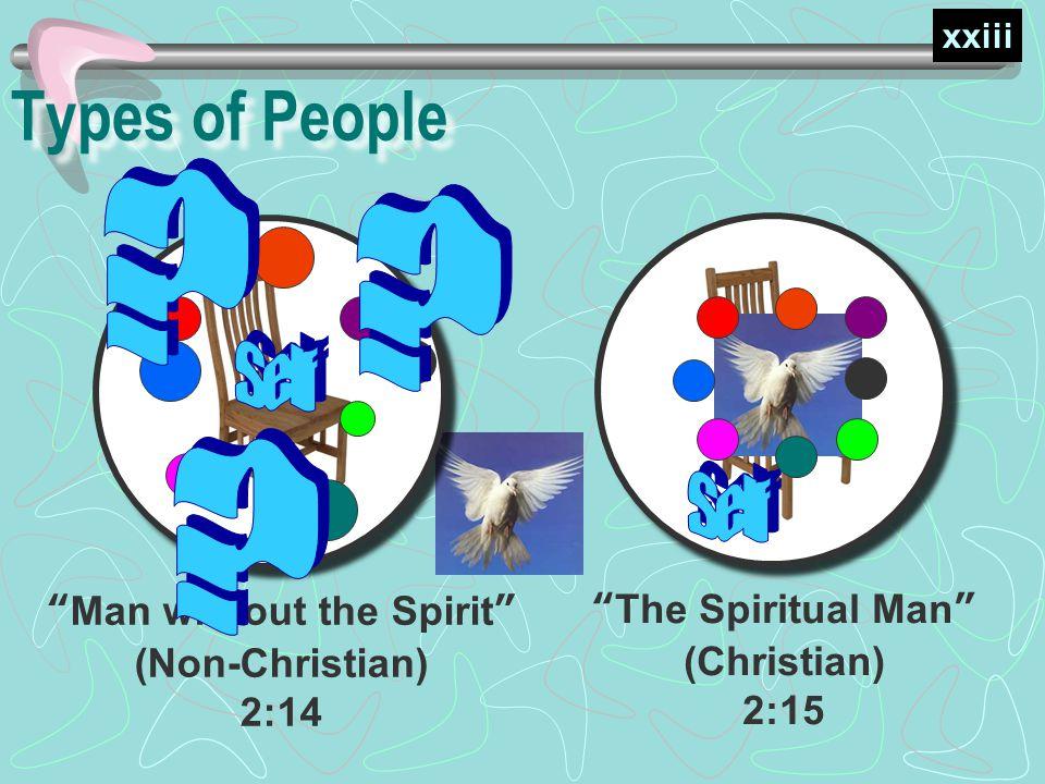 The Spiritual Man (Christian) 2:15 Types of People Man without the Spirit (Non-Christian) 2:14 xxiii