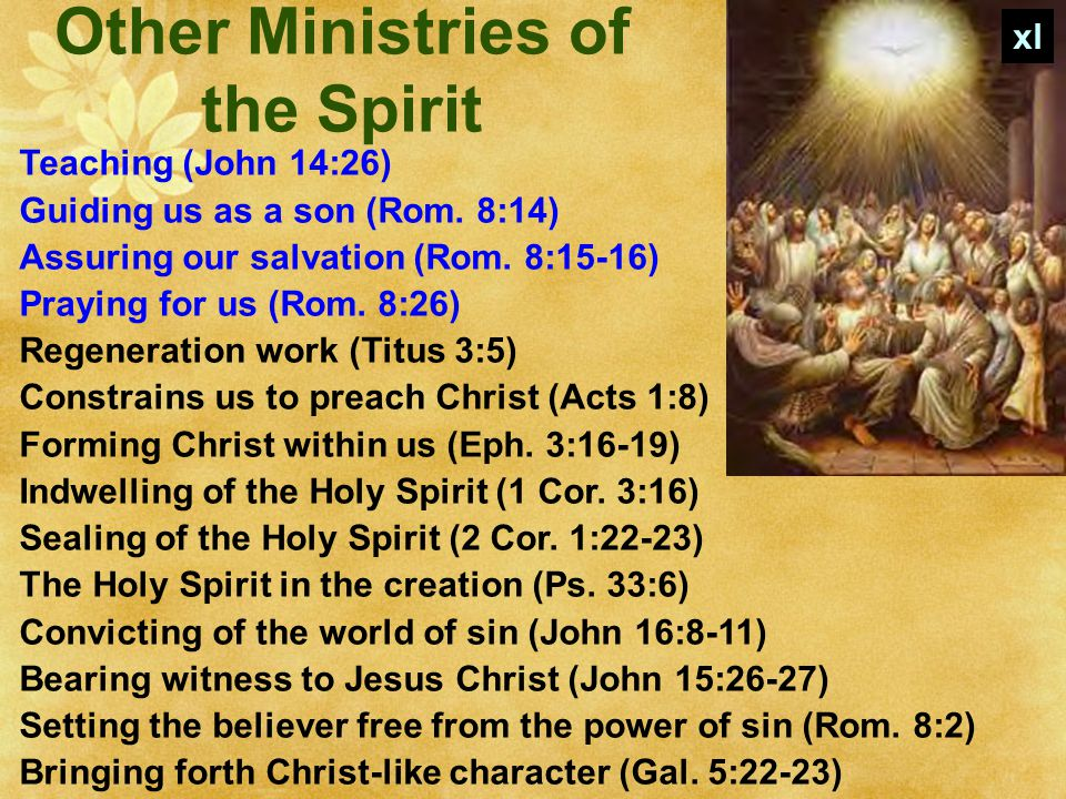 Other Ministries of the Spirit Teaching (John 14:26) Guiding us as a son (Rom.