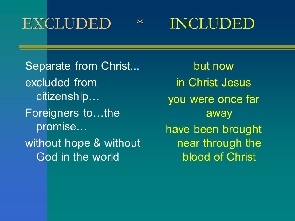 EXCLUDED * INCLUDED Separate from Christ...
