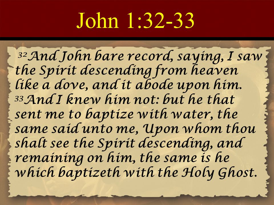 John 1:32-33 32 And John bare record, saying, I saw the Spirit descending from heaven like a dove, and it abode upon him. 33 And I knew him not: but h