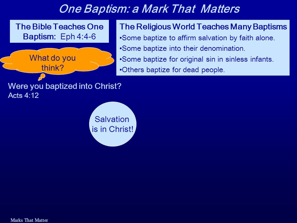 Marks That Matter Baptized into the Death of Christ John 3:3-6: 3 In reply Jesus declared, I tell you the truth, no one can see the kingdom of God unless he is born again. 4 How can a man be born when he is old? Nicodemus asked.
