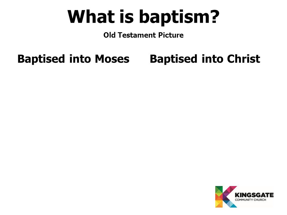 Baptised into MosesBaptised into Christ Old Testament Picture