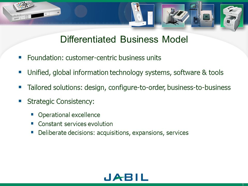 9 Differentiated Business Model  Foundation: customer-centric business units  Unified, global information technology systems, software & tools  Tailored solutions: design, configure-to-order, business-to-business  Strategic Consistency:  Operational excellence  Constant services evolution  Deliberate decisions: acquisitions, expansions, services