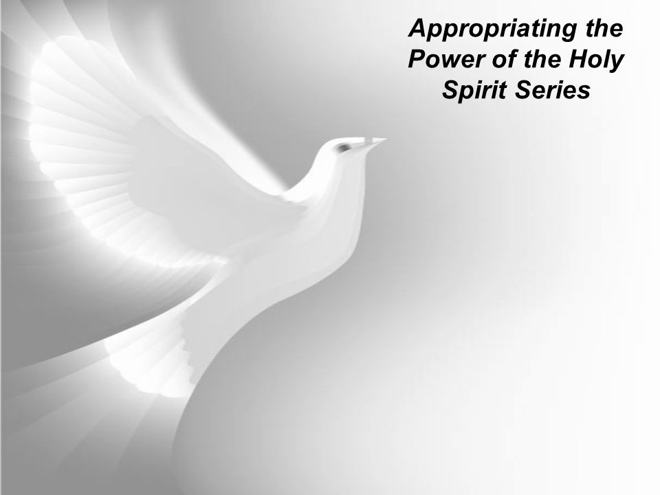 Appropriating the Power of the Holy Spirit Series The Holy Spirit is the agent of the baptism under instruction from The Father and Jesus as promised in John 14, 15 & 16.