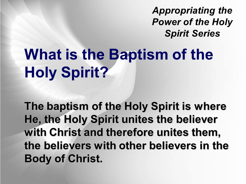 Appropriating the Power of the Holy Spirit Series Nowhere in Scripture are believers told that tongues is the evidence of Spirit baptism outside of these initial moments in salvation history, and nowhere are believers commanded to be baptized in the Spirit or commanded to speak in tongues.