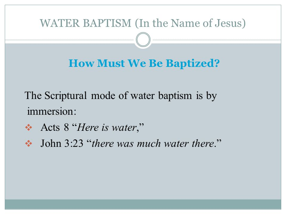 WATER BAPTISM (In the Name of Jesus) Why Must We Be Baptized.