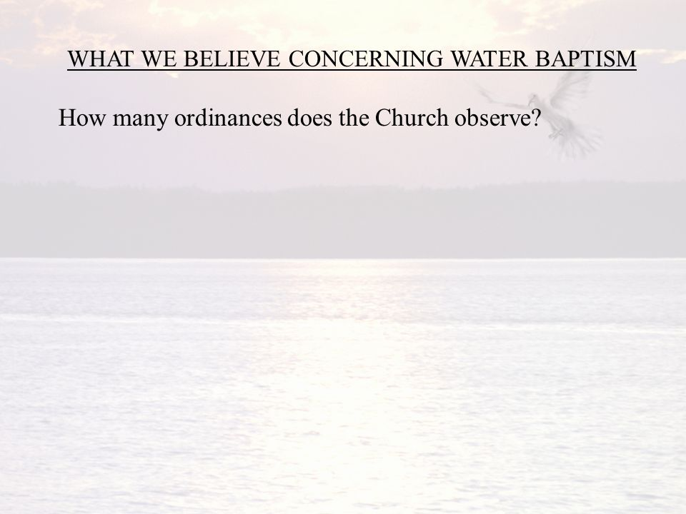 WHAT WE BELIEVE CONCERNING WATER BAPTISM How many ordinances does the Church observe