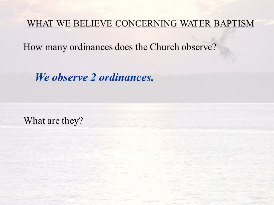 WHAT WE BELIEVE CONCERNING WATER BAPTISM How many ordinances does the Church observe.