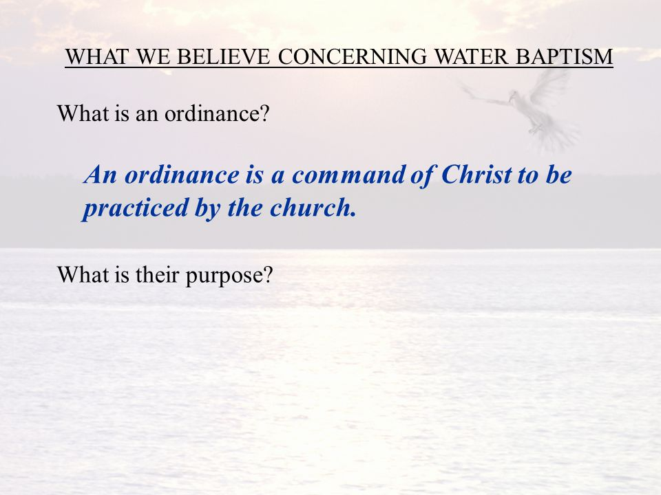 WHAT WE BELIEVE CONCERNING WATER BAPTISM What is an ordinance.